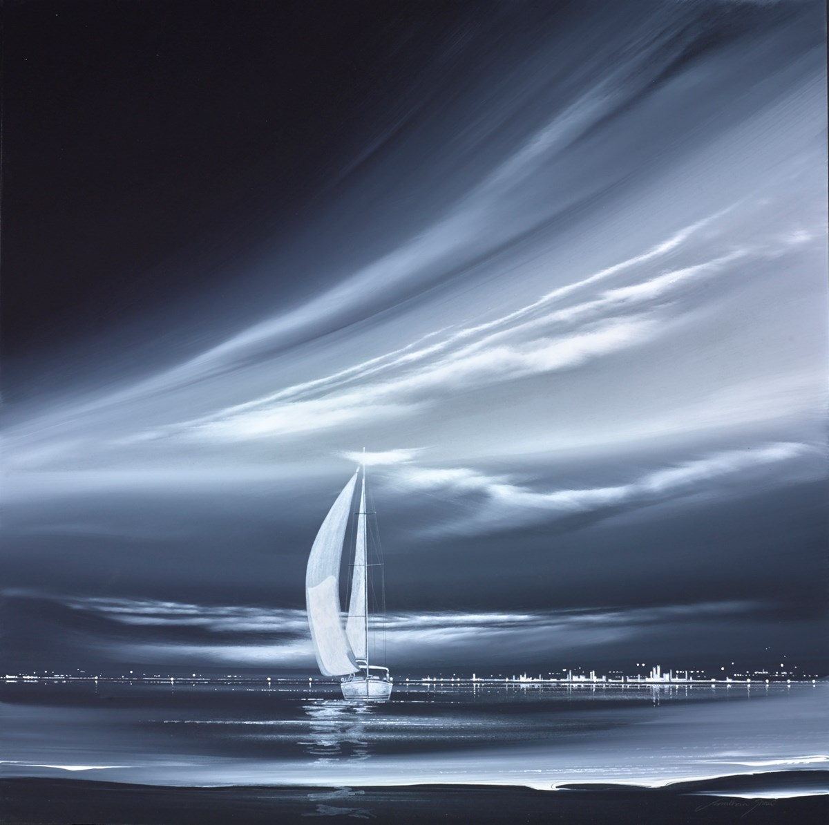 Graphite Boat III by jonathan shaw -  sized 24x24 inches. Available from Whitewall Galleries